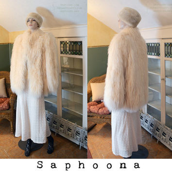 Vintage 80s 60s vibe Mongolian Lamb Fur Coat Jacket Ivory Winter White Yeti Club Kid Shaggy Curly Long Hair boho festival INC US SHIPPING