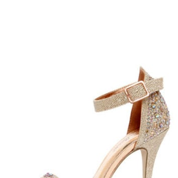 Anne Michelle Enzo 78 Rose Gold Rhinestone Ankle Strap Heels