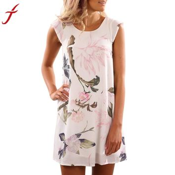 2017 Spring Summer Dress Women Sleeveless Chiffon Floral Printed Party Cocktail Beach Short Dress vestidos mujer