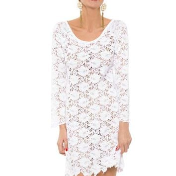 Full Lace White Mini Dress