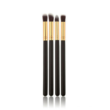 4pcs Professional Foundation Blush Blending Eyeshadow Makeup Brush Cosmetics Flat Round Angled Tapered Top Brush