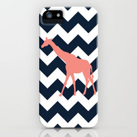 Giraffe on Chevron Background iPhone Case by Gathered Nest Designs