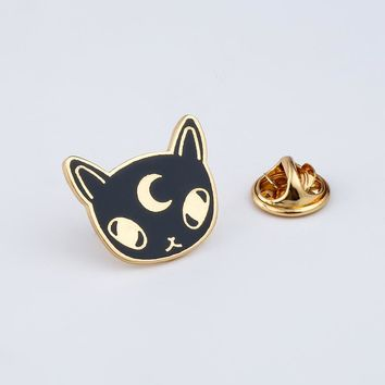 Trendy Cartoon Animal Brooches Black Moon Cat Enamel Pin for Boys Lapel Pin Hat/bag Pins Denim Jacket Shirt Women Brooch Badge Q450 AT_94_13