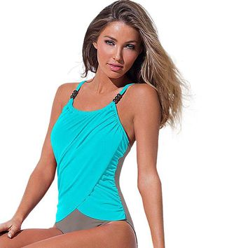 4XL Plus Size Swimwear Women 1 One Piece Swimsuit Sling Beach Wear 2017 Solid Monokini Large Size Vintage Retro Bathing Suits