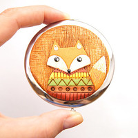 Pocket Mirror Fox in jacket - Magical Fox - Handmade Decor Polymer clay - Gift for Mom - Pocket Mirror Compact - MAKE TO ORDER