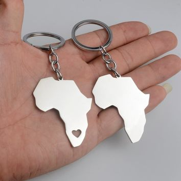 Anniyo (ONE PIECE) Stainless Steel African Map Key Chains for Women/Men Africa Ethiopian Jewelry Gifts #013721