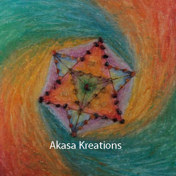 Tetra Crystal Mandala Healing Grid Crystal Charing Grid Oil Pastel Painting Tetrahedron Spiritual Wiccan Pagan Color Therapy Sacred Geometry