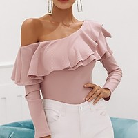 Rare Beauty Long Sleeve Ribbed One Shoulder Tiered Ruffle Top - 2 Colors Available