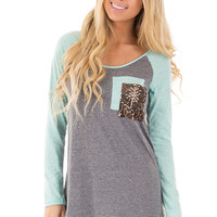 Mint and Charcoal Top with Sequin Pocket Detail