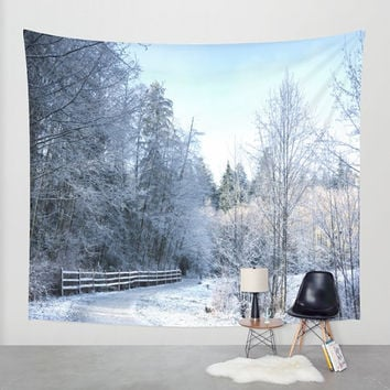 Wall Tapestry - 'Winter in the Park' - Home Decor - Wall Decor, Modern, Home Warming Gift, Symmetry, Bohemian, Boho, Scenery, Park, Winter