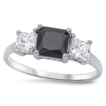 Sterling Silver Princess Cut 1.25 Carat Black and White Cubic Zirconia 3 Stone Engagement Ring