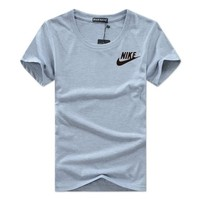 Plus Size Short Sleeve Round-neck Cotton Casual Sports T-shirts [12225211283]
