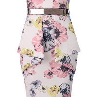WOMENS PINK FLORAL STRAPLESS PEPLUM DRESS WITH BELT