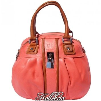 Italian Salmon Pink Genuine Leather Handbag with Long Adjustable Strap