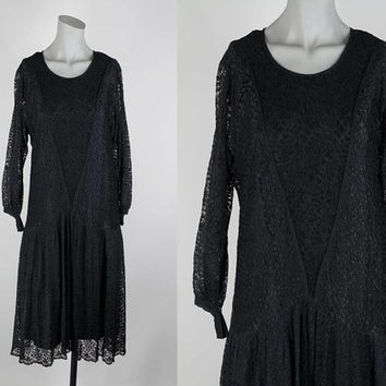 SALE Vintage 1920s Dress / 20s Black Lace and Silk Drop Waist Flapper Dress XS S M