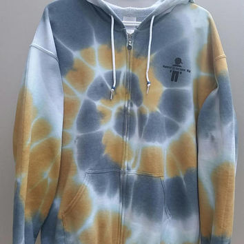 Zip-Up Hoodie Tie Dye, Adult Size Large, Women's, Men's, Girl's, Boy's, Gift For Her, Gift For Him, Gym Shirt, Fall Hooded Sweater Fleece