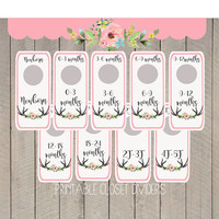 Floral Baby Girl Clothing Dividers | Closet Organize Printable Instant Download