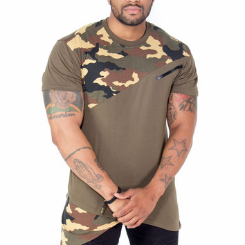 Asymmetrical Hem Camo Color Block Extended Tee