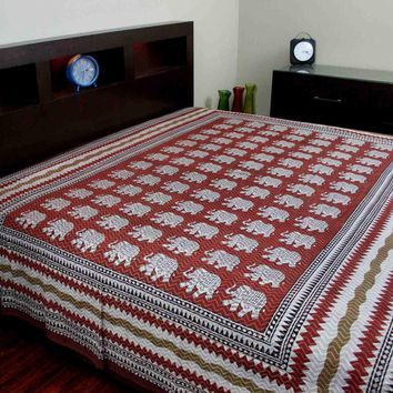 Handmade Cotton Hand Block Print Dabu Floral Tapestry Tablecloth Bedspread Twin