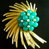 Jade Art Glass Brooch by BSK, Swirling Flower Spray, Glass Pearls, Large Vintage
