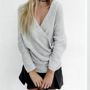 Fashion V-Neck strapless Set head knit  Loose coat