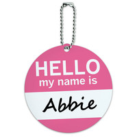 Abbie Hello My Name Is Round ID Card Luggage Tag