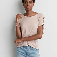 AEO Lace-Up Sleeve T-Shirt , Pink