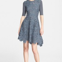 Women's Lela Rose Knit Back Wool Lace Fit & Flare Dress,