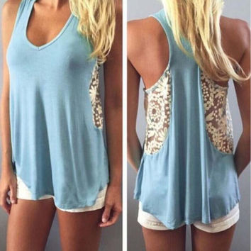 Beach Hot Sexy Comfortable Bralette Stylish Summer Backless Lace Mosaic Casual Women's Fashion Vest [4917769412]