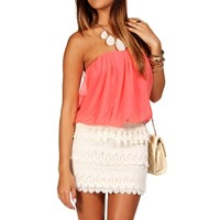 Pink/Ivory Bloussant Crochet Dress