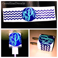Chevron iPhone Charger Monogram Sticker Decal Chevron monogram iphone charger decal 2 color charger decal