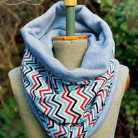 Reversible Neck Warmer, Chevron Chunky Cowl,  Cotton Tube, Gray &  black, red, blue, white Jersey Cosy snood
