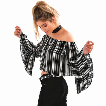 Smoves Women 80`S Retro Strip Print Slash Neck Flare Sleeve Off Shoulder Blouse Shirt Cropped Top GT120