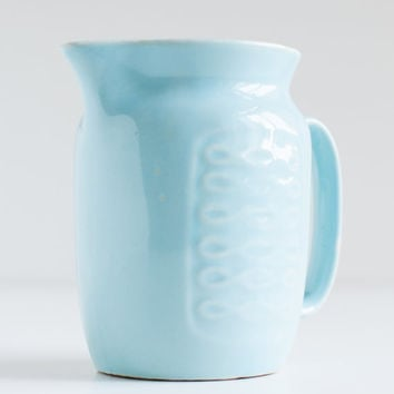 Vintage pale-blue milk jug - Soviet ceramic milk pitcher - Russian light blue milk jug - 70s