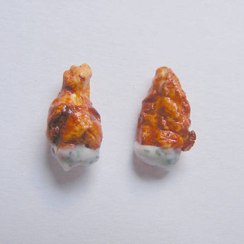 Food Jewelry buffalo wings earrings , buffalo wings jewelry, Miniature Food Jewellery, Mini Food Earrings, Ranch dressing, kawaii earrings