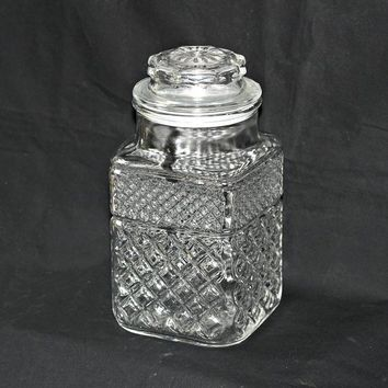 "Large Glass Jar Canister with Plastic Seal 9.25""T 