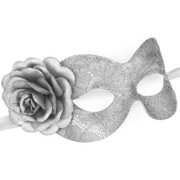 Silver Lace Masquerade Mask With Rose - Lace Covered Venetian Mask With Flower - Floral Lace Silver Masquerade Ball Mask
