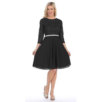 Black Quarter Sleeves Lace Knee-Length Wedding Guest Dress