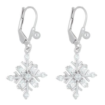 Sterling Silver Snowflake Cubic Zirconium Leverback Earrings