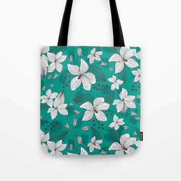 Avery Aqua Tote Bag by heatherduttonhangtightstudio