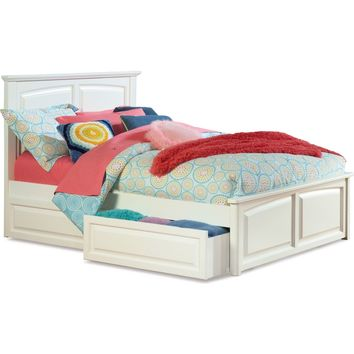 Monterey Twin Bed Raised Panel Footboard Raised Panel Bed Drawers White Finish
