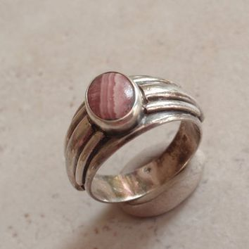 Rhodochrosite Ring Sterling Silver Cigar Band Size 7 Vintage