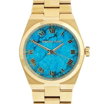 Michael Kors Ladies Channing Wrist Watch Gold PVD Strap Turquoise Dial MK5894