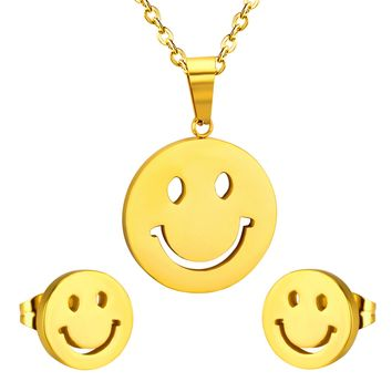 Hot Sale Smile Face Stainless Steel Jewelry Sets For Fashion Women,Necklace Pendant Earrings With Free Chain