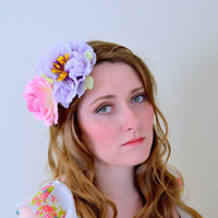 Bridal hair crown, Wedding wreath, Flower crown floral crown head piece, Boho garland, Pink rose crown, Silk Flowers - 'Dreamer'