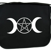 Triple Goddess Moon Pentagram Messenger Bag Cross Body Bags Wicca Neopagan Symbol
