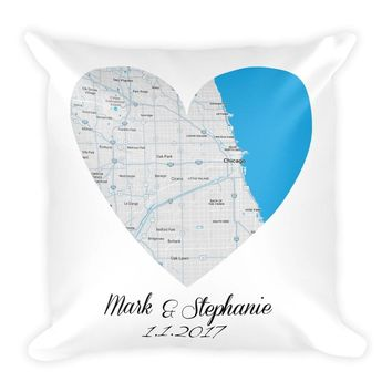 1st Anniversary Gift Pillow – Modern Map Art