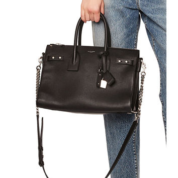Saint Laurent Small Zipped Supple Sac de Jour Duffel Bag in Black | FWRD