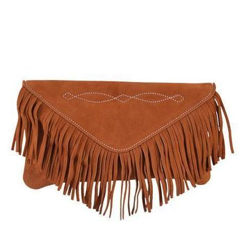 Bridle Stitch Fringe Suede Clutch | Cowboy Tan