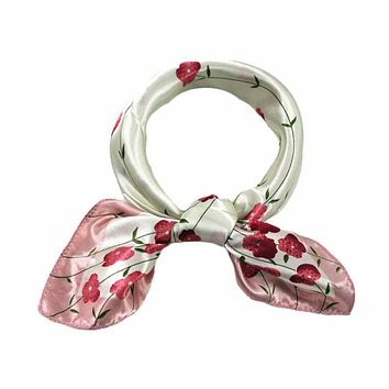 Fashion Female Small Satin Silk Square Scarf Women Four Seasons Floral Printed Scarf Chiffon Hijab Women's Scarves Shawl #Zer